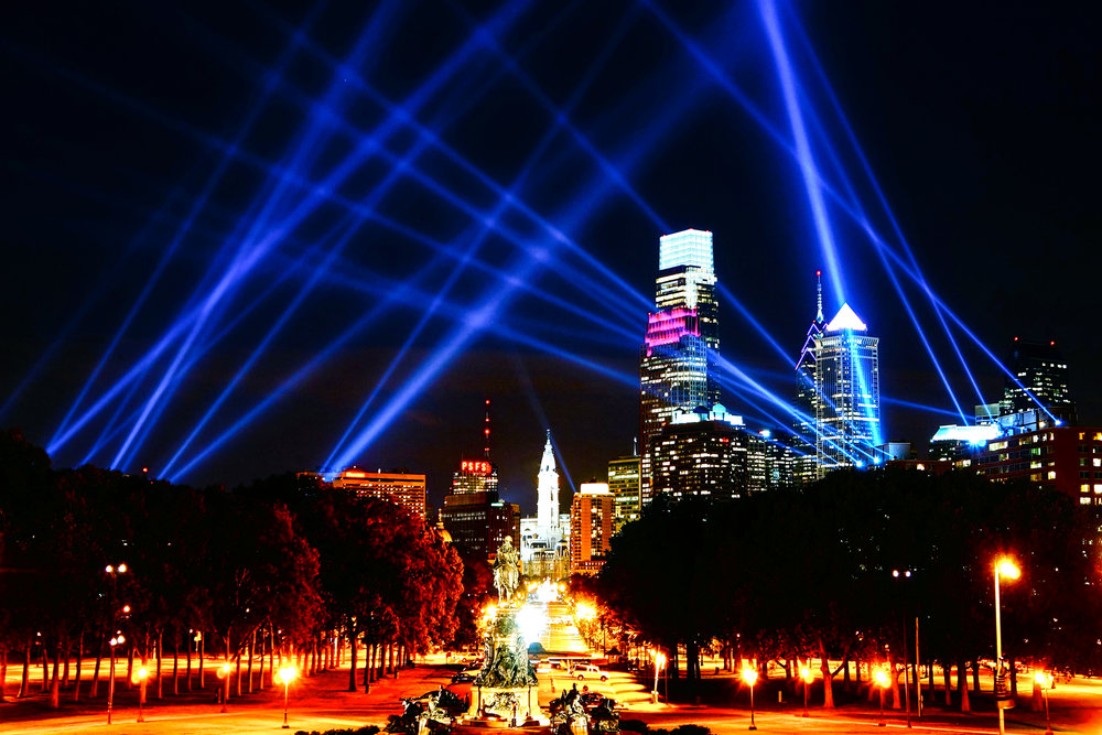 Lights fill the sky during the Open Air event in Philadelphia in October 2012.