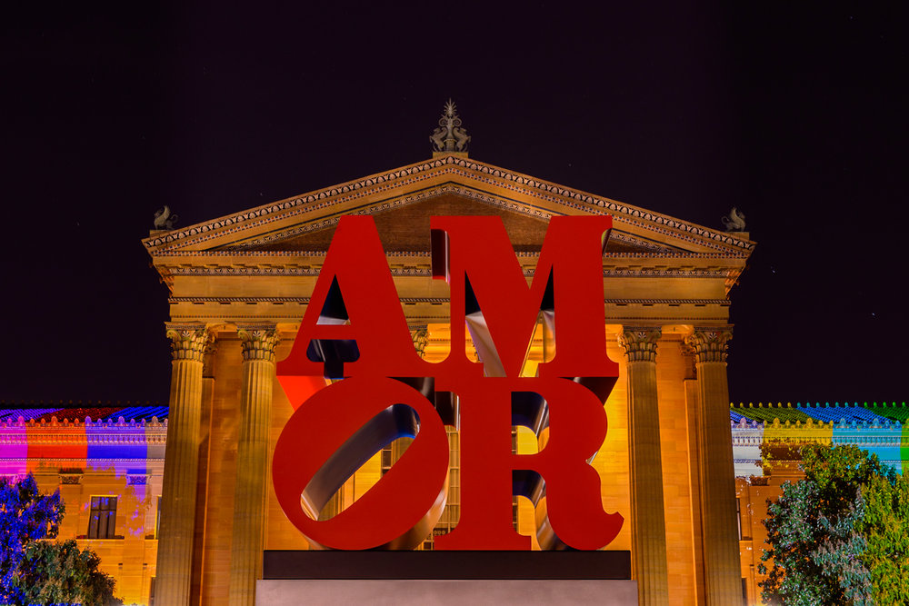 The AMOR sculpture installed at the Philadelphia Museum of Art for the arrival of the Pope in September 2015.