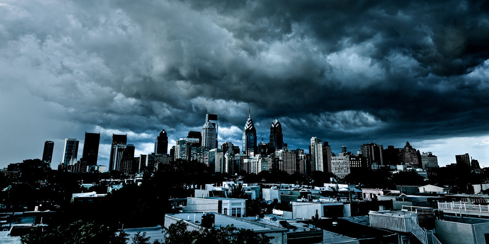 A storm rolls through center city Philadelphia during the summer of 2013.