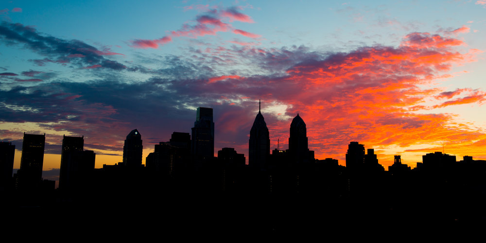 "The Philadelphia skyline before sunrise on a Monday morning. Taken at approximately 4:30 AM before a single sole has gone to work. This was also the morning after ""City of Brotherly Doom"" was photographed."