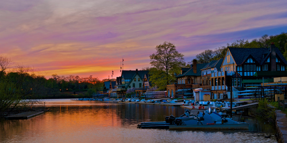 The sky is aglow during sunset at Boathouse Row in Philadelphia
