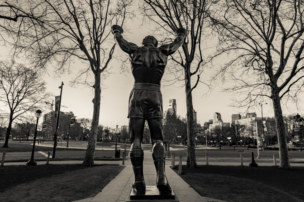The Rocky statue in the morning