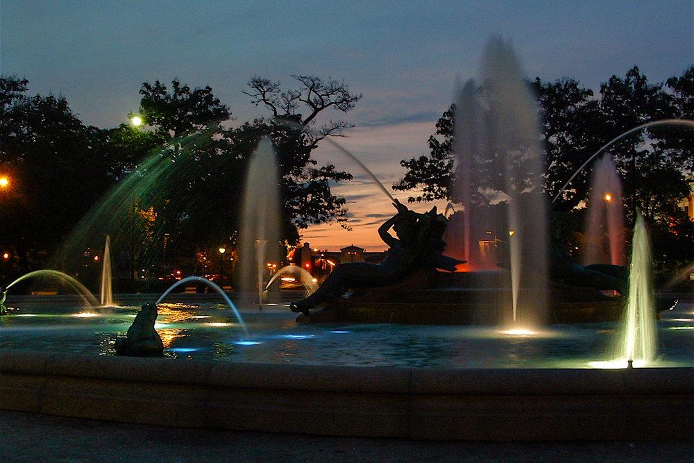 Logan Fountain during sunset