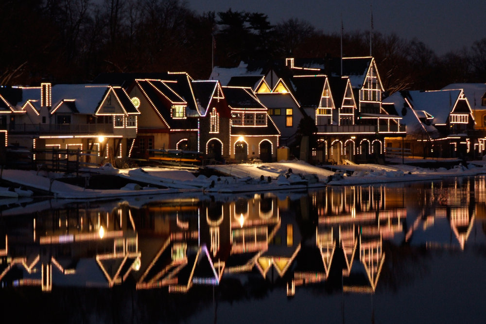 Boathouse Row during a winter evening.