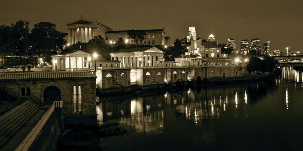 The Waterworks and Philadelphia  Museum of Art at night
