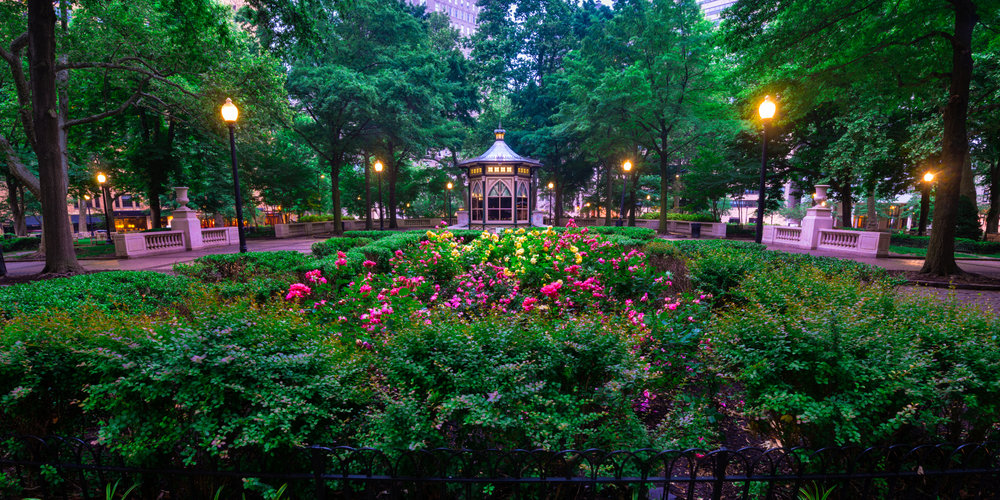 Rittenhouse Park on an early morning in spring