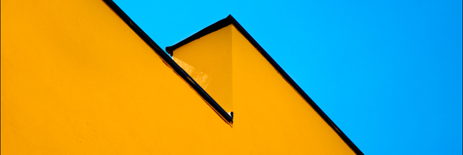 a yellow wall black border blue sky by hey.pictrues, on Flickr