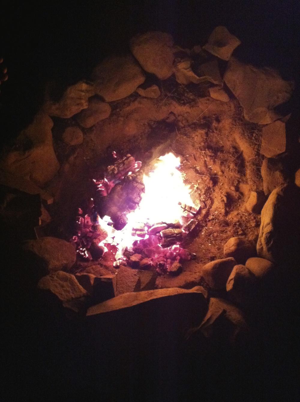 The inaugural campfire.
