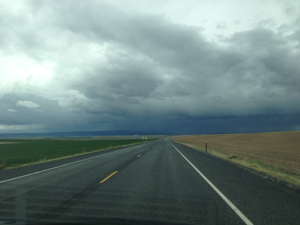 Ominous clouds somewhere along the final stretch of the drive from Ephrata, Washington.
