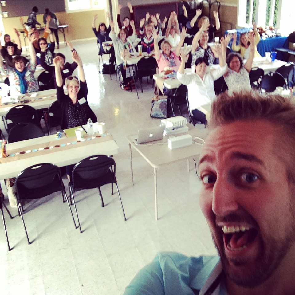 My silly on-stage selfie at the School House Craft conference in Seattle, September 2014.
