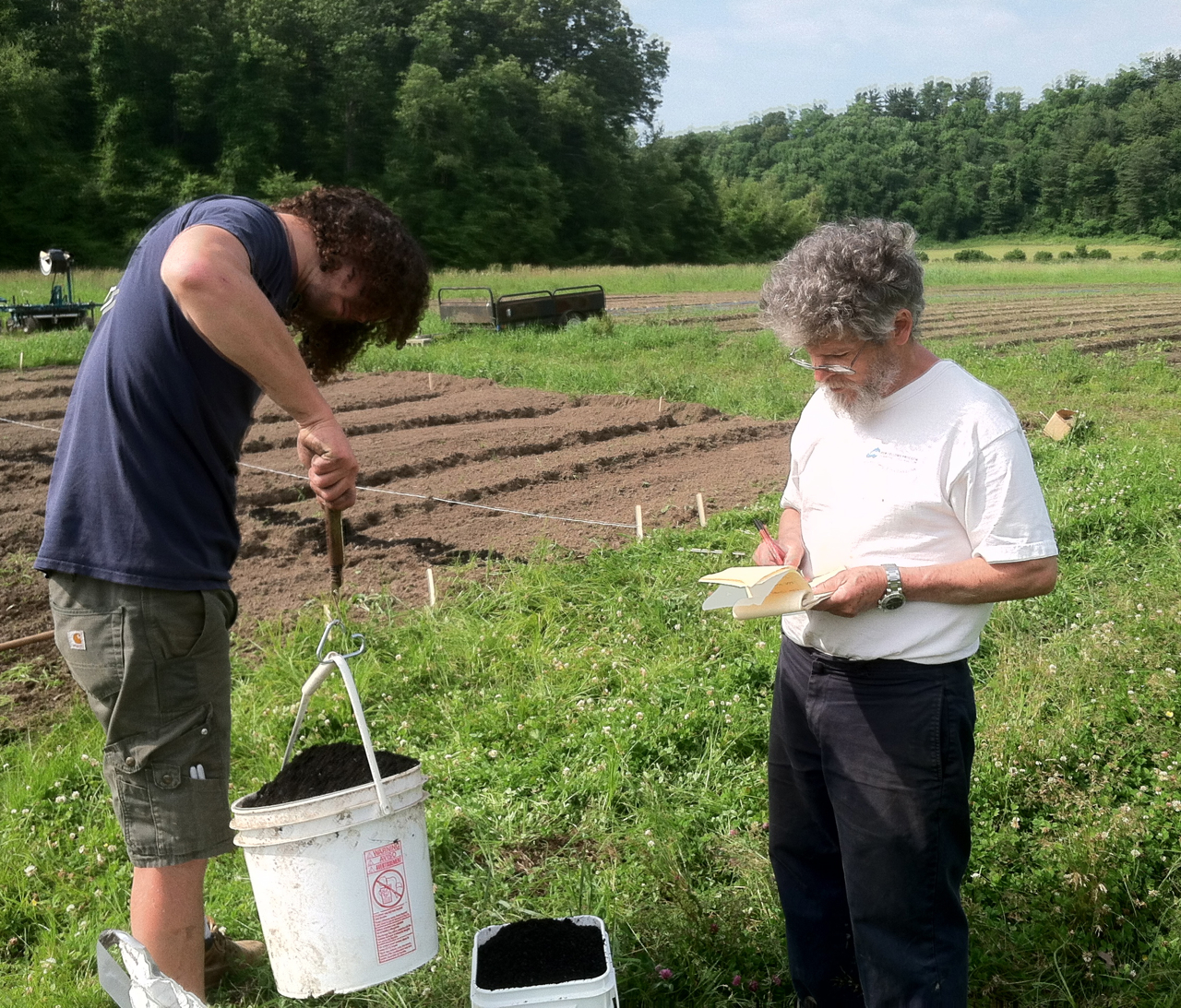 Dr. Tom Goreau and Ben Twombley measuring Bio Char to add to our test plot