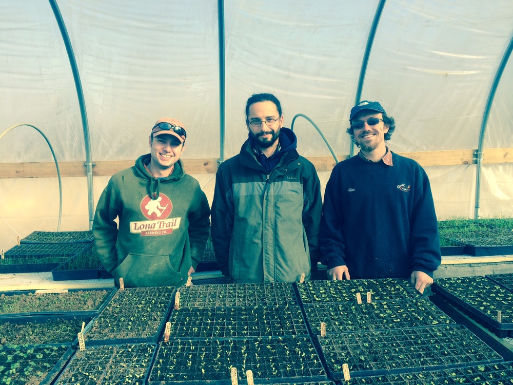 2014 Early Spring Seeding (L-R ): Michael Everett Our Amazing Produciton Manager, Alex Notis, Spring Intern, and John David (JD) Hutchison- Maxwell Permaculture Maven and Erin's Right Hand M