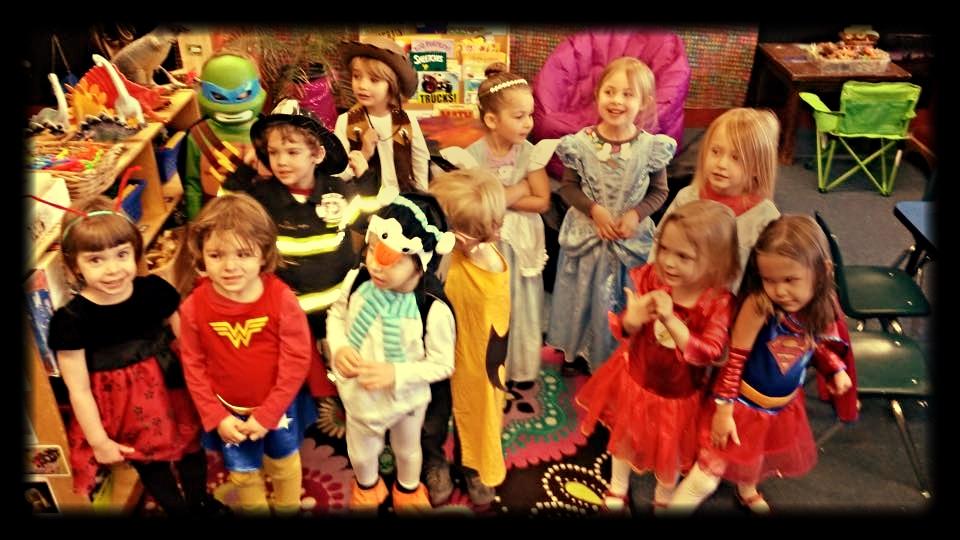 preschool purim parade with children dressing up