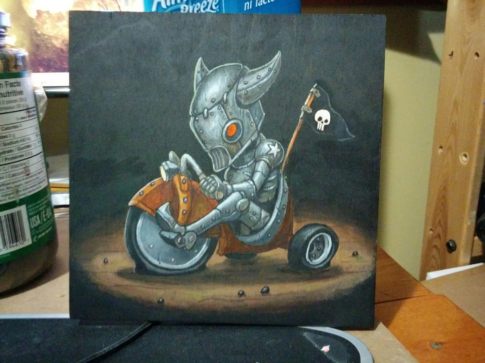 "Rat Rod Robot  6 x 6"" on wood panel."