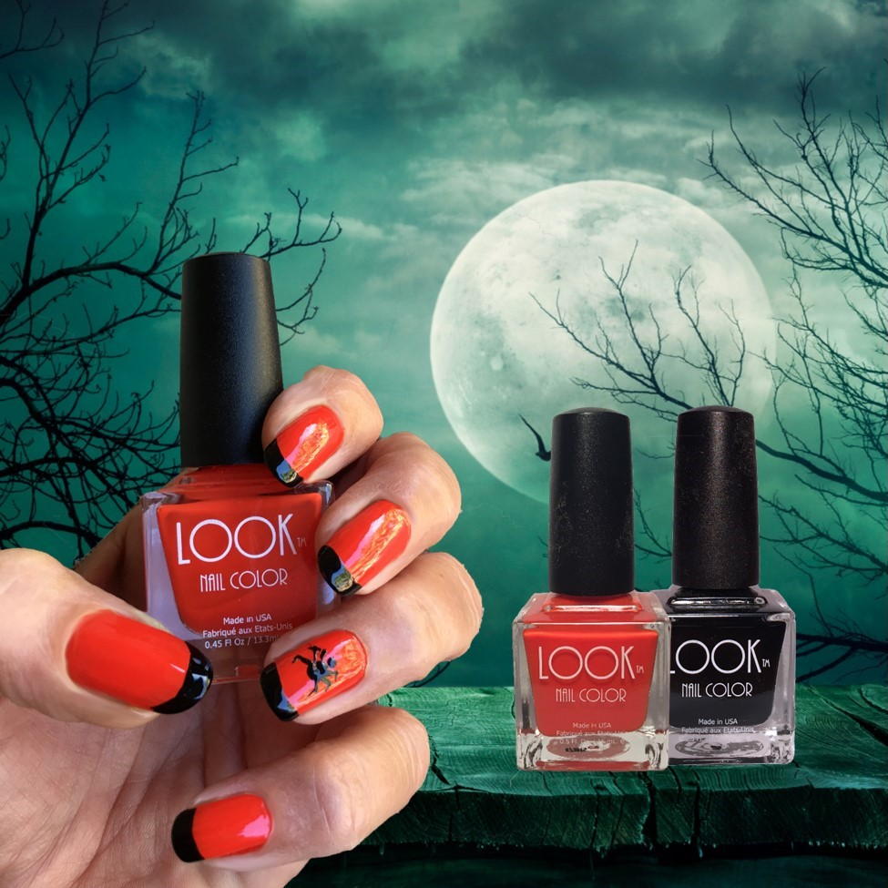 "Halloween French Nail Art - Apply base coat – let dry.Apply 2 coats of #002 Orange – let dry.Using #022 Black apply ""French tips"" to each Nail.Spider: Use the large end of a dotting tool for the body of the spider, and the smaller end of the dotting tool for the head.Then use a striping brush to add ""legs"". Let dry.Apply #025 Gel-Like Top Coat to seal and protect."