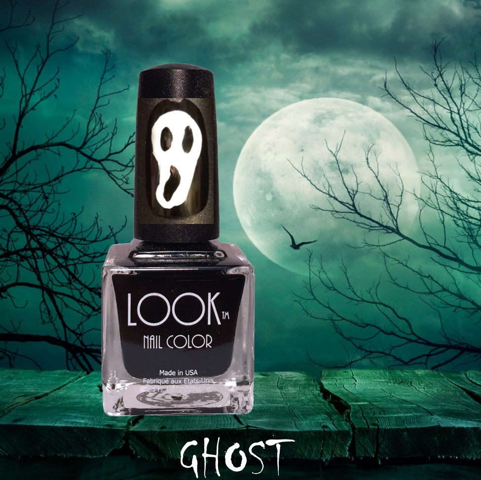 "Ghost Nail Art - Apply Base Coat -  let dry.Apply 2 coats of #022 Black to all nails – let dry.Use a detail brush and #021 White to paint ""ghost shape"". Let dry.Use a dotting tool and #022 Black to ""dot"" in the eyes. Place dots on top and next to one another until you get the elongated ""eyes"" & ""mouth"". If need be…use a detail brush to blend and connect the dots to achieve the right shape.  Let dry.Apply #025 Gel-Like Top Coat to seal and protect."