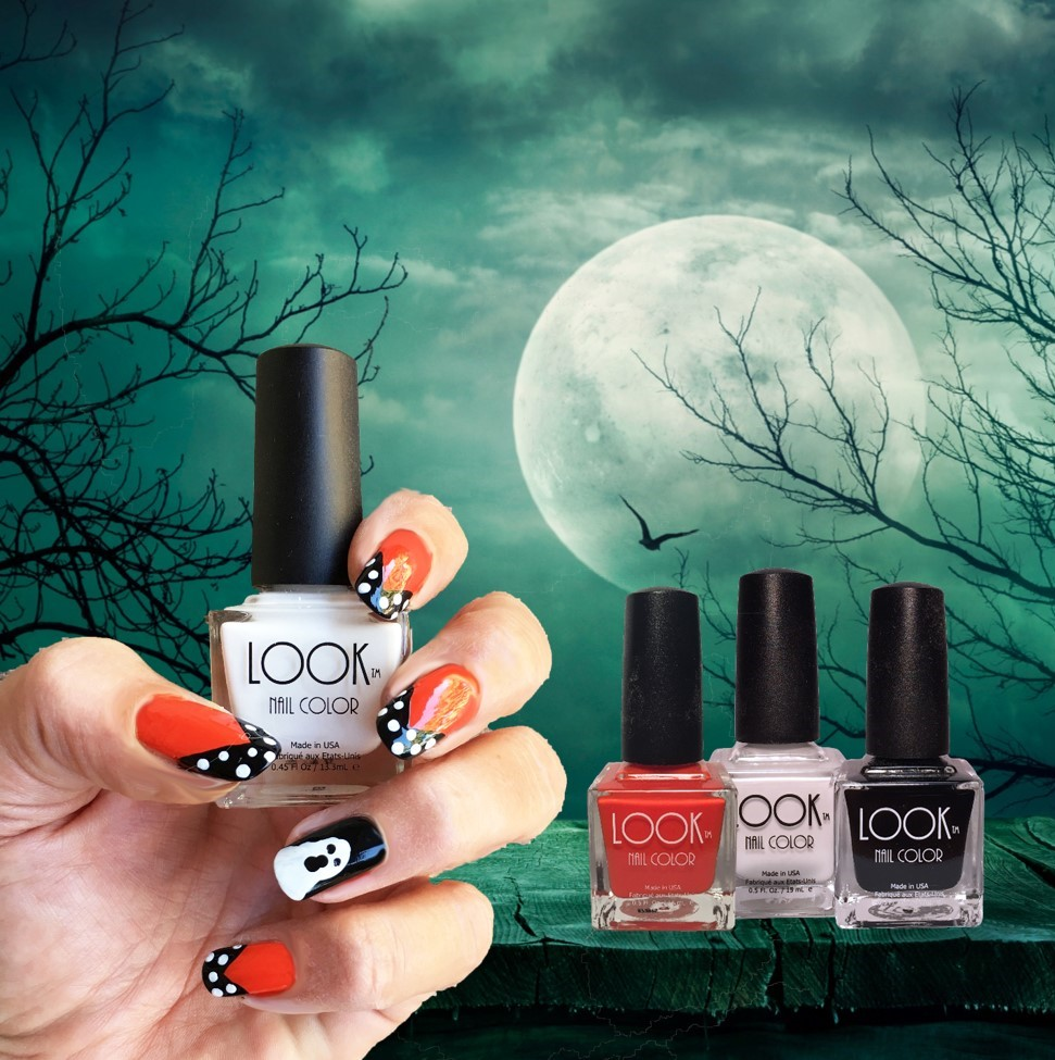 "Halloween Fashion Nail Art - Apply Base Coat – let dry.Apply 2 coats of #002 Orange to all nails EXCEPT ""ring finger"".  Apply 2 coats #022 Black to ""ring finger"