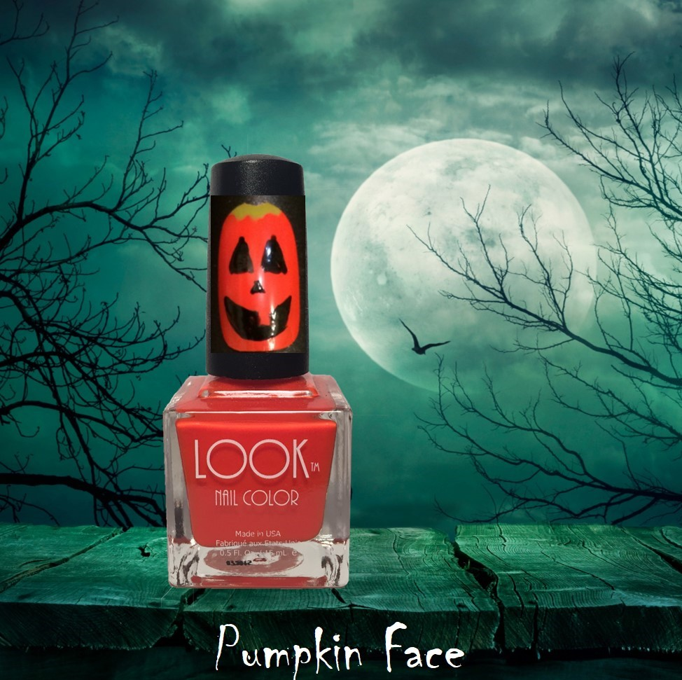 "Pumpkin Nail Art - Apply Base Coat – let dry.Apply 2 coats of #002 Orange to all nails – let dry.Use a detail brush and #022 Black and make 2 ""triangles"" for the ""eyes, and a smaller ""triangle"" for the nose.Then…add YOUR Pumpkin's smile. Make him happy or Scary. Let dry.Tip: for an added touch…..use #014 Lime and add a""stem"" at the top of your pumpkin. Let dry.Apply #025 Gel-Like Top Coat to seal and protect."