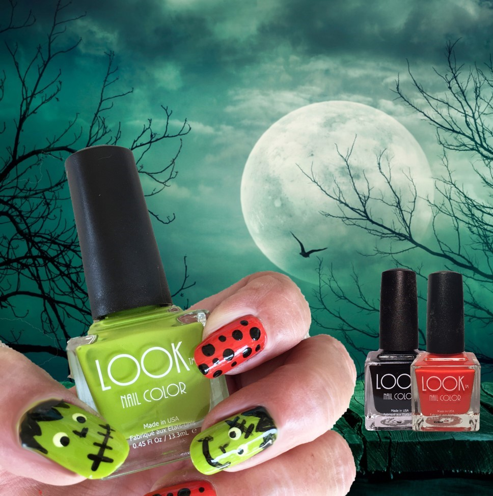 "Monster Nail Art - Apply Base Coat – Let dry.Monster: Apply 2 coats of #014 LIME – let dry.Use a detail brush and #022 Black to add the ""jagged hairline"" at the base of the nail, and to make the ""backwards L"" for the nose. Add a smile line or ""stitch lips"" for the mouth. For the eyes: Use the large end of a dotting tool and #021 White and make a large dot for each eye. Let dry. Then using the smaller end of the dotting tool and #022 Black…place a dot within the WHITE DOT.  Depending on where you place this Black dot – will determine the expression you're giving your monster.Mix it up – Paint a couple of nails using #002 Orange and use a dotting tool and #022 Black to add some ""polka dots"".Apply #025 Gel-Like Top Coat to seal and protect."