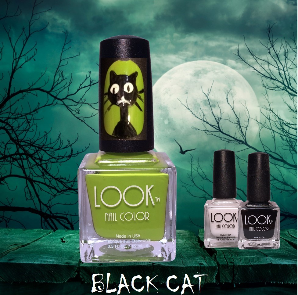 "Black Cat Nail Art - Apply Base Coat – let dry.Apply 2 coats #014 Lime – let dry.Use #022 Black and a Detail Brush and free-hand to paint a large circle and 2 triangles (for cat's head & ears). Add ""neck"" and ""shoulders"" by following picture. Let Dry.Use a dotting tool and #021 White to make 2 dots for the ""eyes"". Let dry. Use a detail brush and #022 Black to make 2 slits in the middle of the white dots – for the eyes.Use #021 White and a detail brush to add the mouth, And #022 Black and a striping brush to add in the whiskers. Let dry.Seal and protect by using #025 Gel Like Top Coat."
