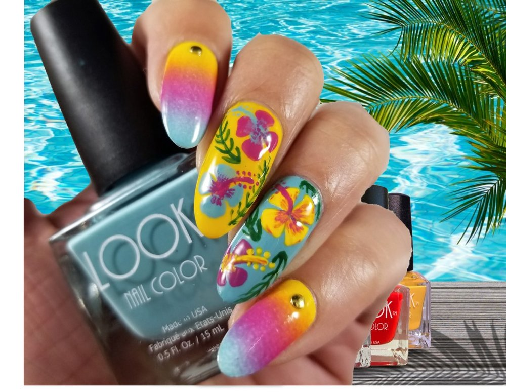 Nail Art using  ISLAND GIRL TRIO COLLECTION  (Design by Aparna Gupta)
