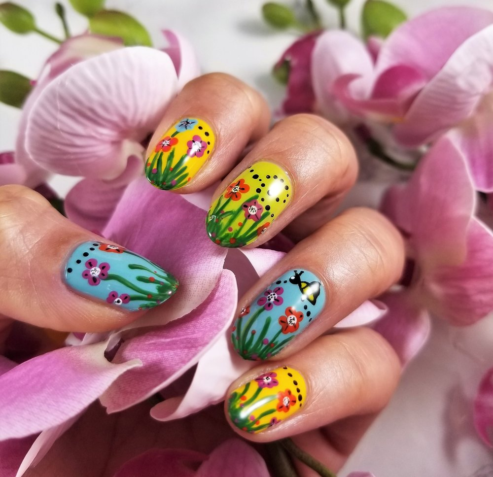 Nail Art using  HERE'S LOOKing AT YOU  Spring Collection (Design by Aparna Gupta)