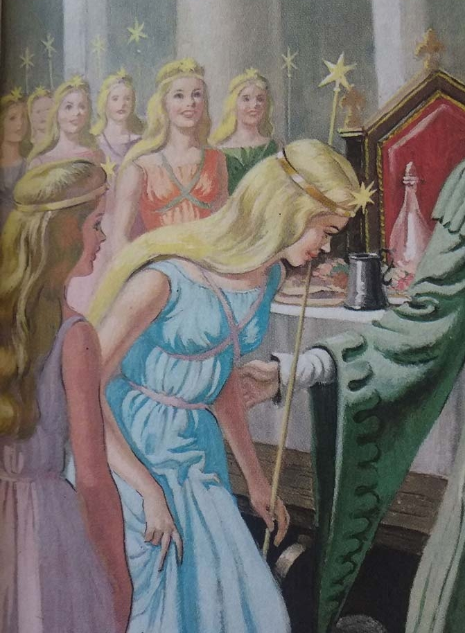 "The fairies bestow their gifts.   Sleeping Beauty , Ladybird Books Ltd, ""Well-loved tales"", 1965 illustrated by Eric Winter."
