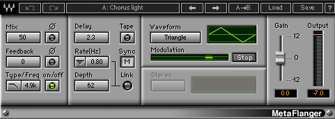My settings for the Waves MetaFlanger plugin