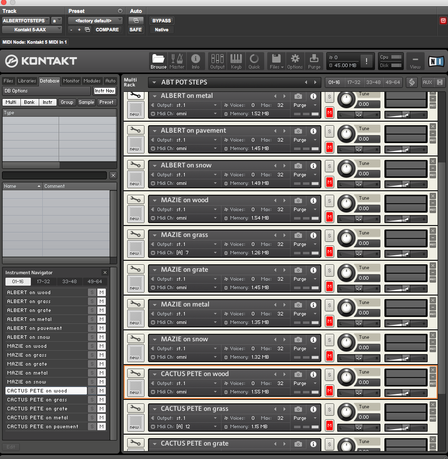 Instruments for each character and surface created in Kontakt.