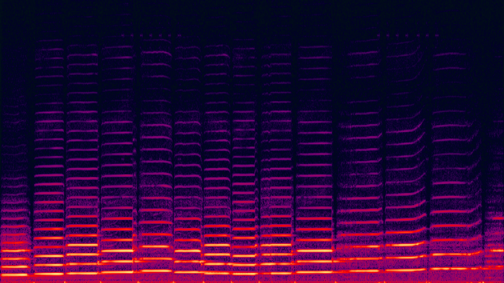 Spectrogram of a Violin - This spectrogram shows the harmonics of each note played by a violin player in the recording below.  A graph like this is made possible by Fourier Analysis.  The overtone series, seen here as integer multiples of each note, are harmonics.  Each harmonic gives that particular note it's timbre, or color.