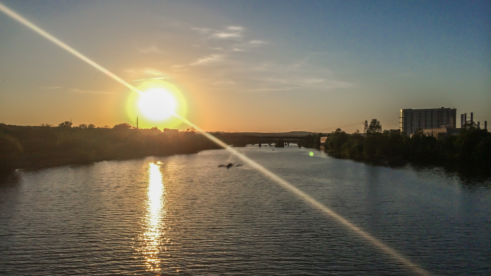 Sunset over Town Lake from the South 1st Street bridge