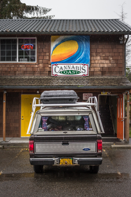 Our truck parked in front of Cannabis Coast