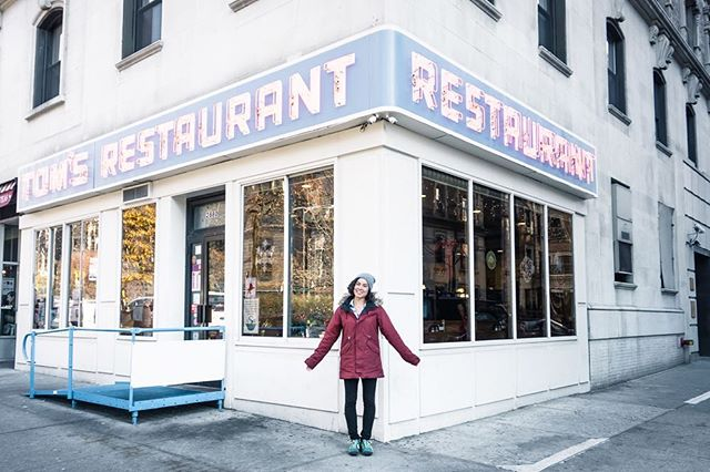 "Yesterday was one of those days where I didn't get out of my pajamas or leave the house... and it felt great! Maybe it's remnants of a travel hangover? Do any of y'all know what I'm talking about/if that's a real thing? 🙈⠀⠀ -⠀⠀ Photo in front of the ""Seinfeld Diner"" in New York last week!"