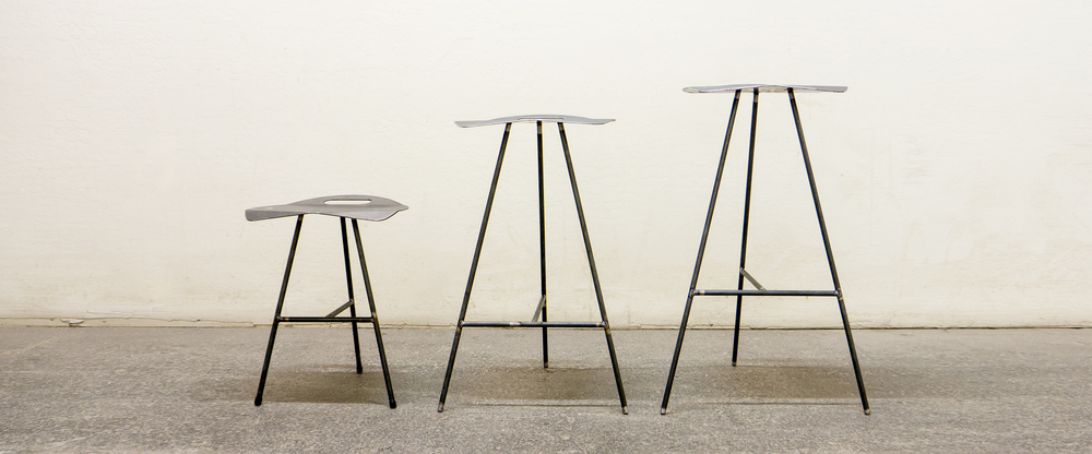 Featuring limited Oldani Steel Mill Stools in 3 sizes.