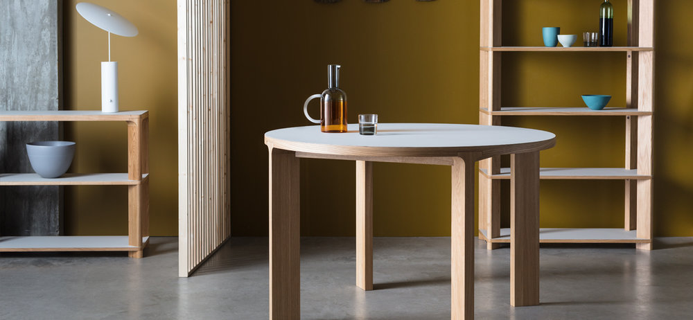 A centrepiece for your home   The Lastra collection, including round & rectangle table with tall shelving & console table.   From £645