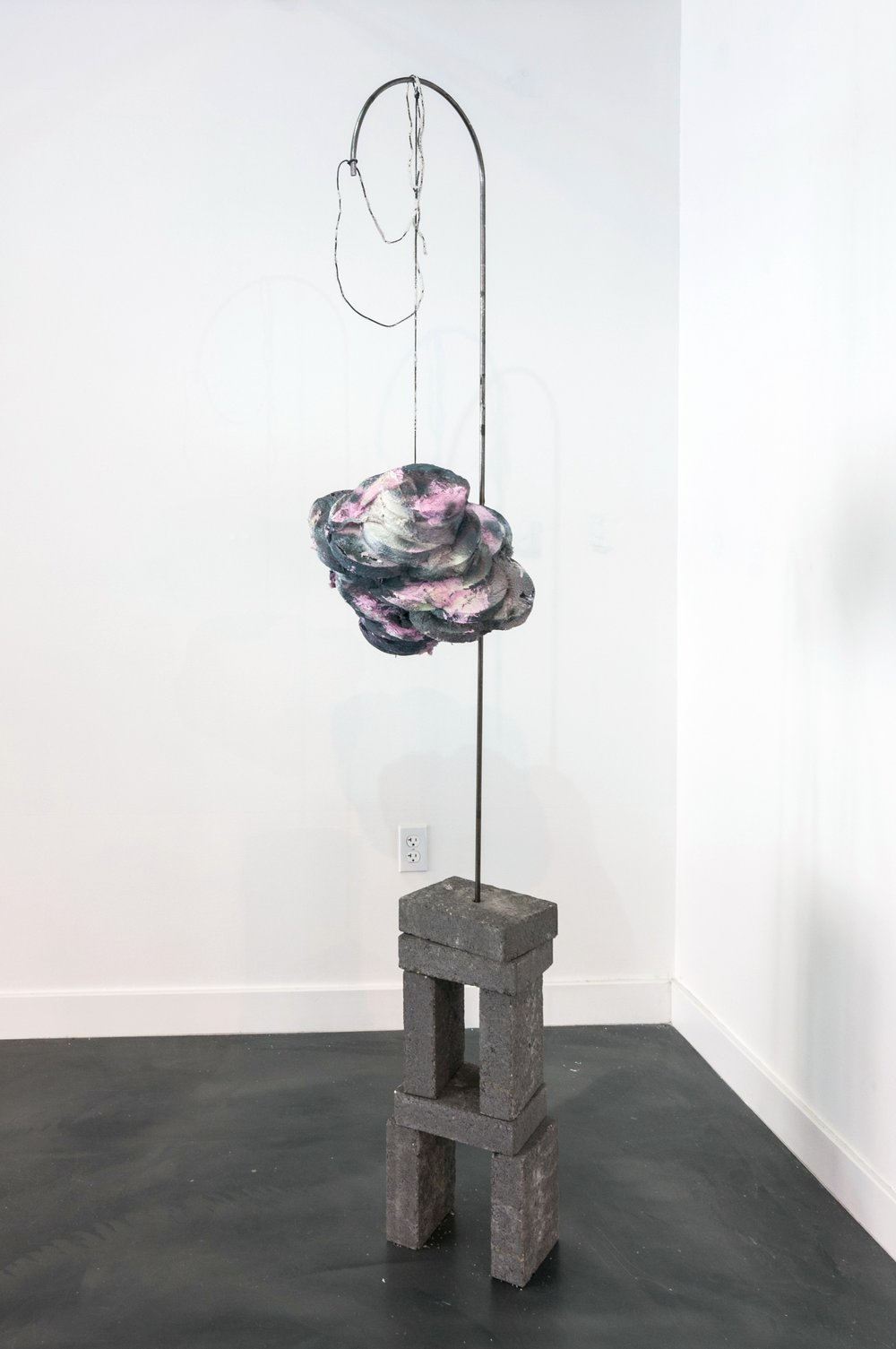 FLOATING ORB  Foam, latex paint, fiberfill, crystalized rope, metal curve, cement pavers, spray paint.