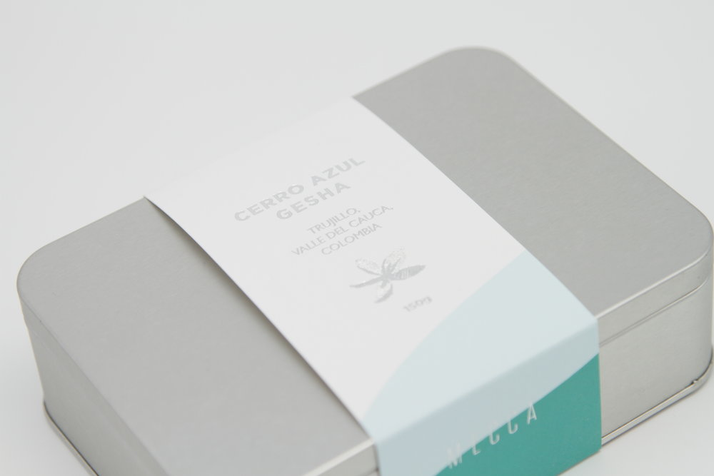 Mecca Coffee   Mecca Coffee Roasters announced its second release of limited roast - Cerro Azul Gesha, The name of Cerro Azul means blue mountains in Panama, an corresponding abstract and elegant packaging was designed to celebrate and share such special coffee to Mecca's beloved fans.