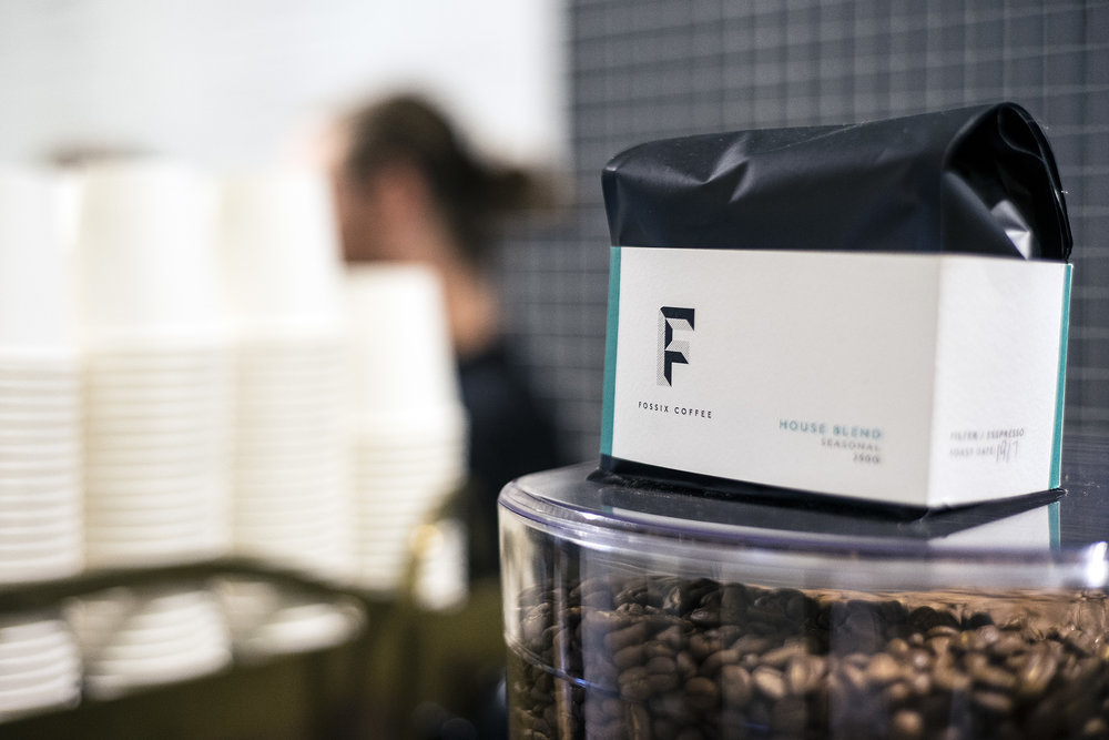 Fossix Coffee   New specialty coffee store in the Sydney CBD with a refined and elegant fit out. Luna Tree was invited to design the shop branding in line with the Fossix Roastery's new identity.