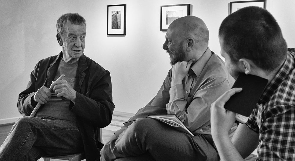 Peter Jones interviewed by Peter Evans and Bartosz Nowicki. © Glyn Shakeshaft