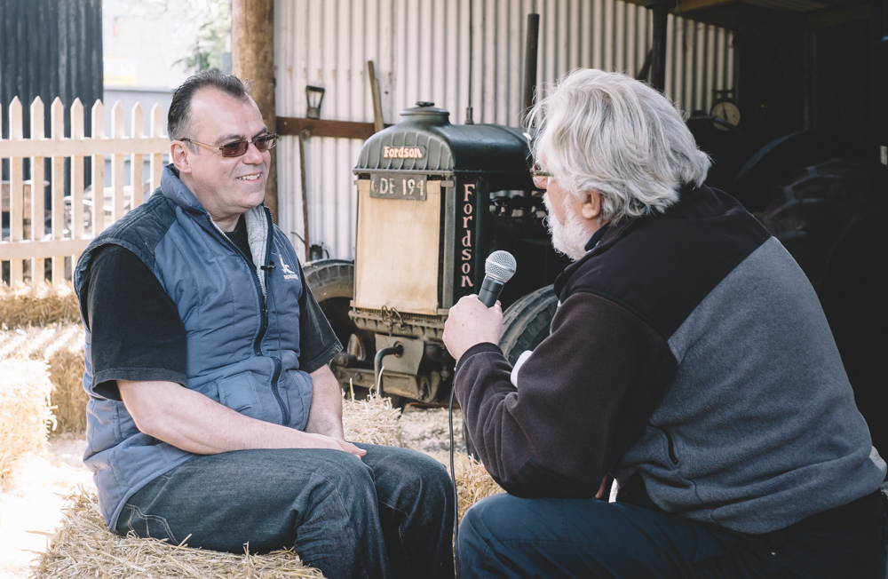 Seimon in conversation with Emyr Young at The Tin Shed Experience in Laugharne