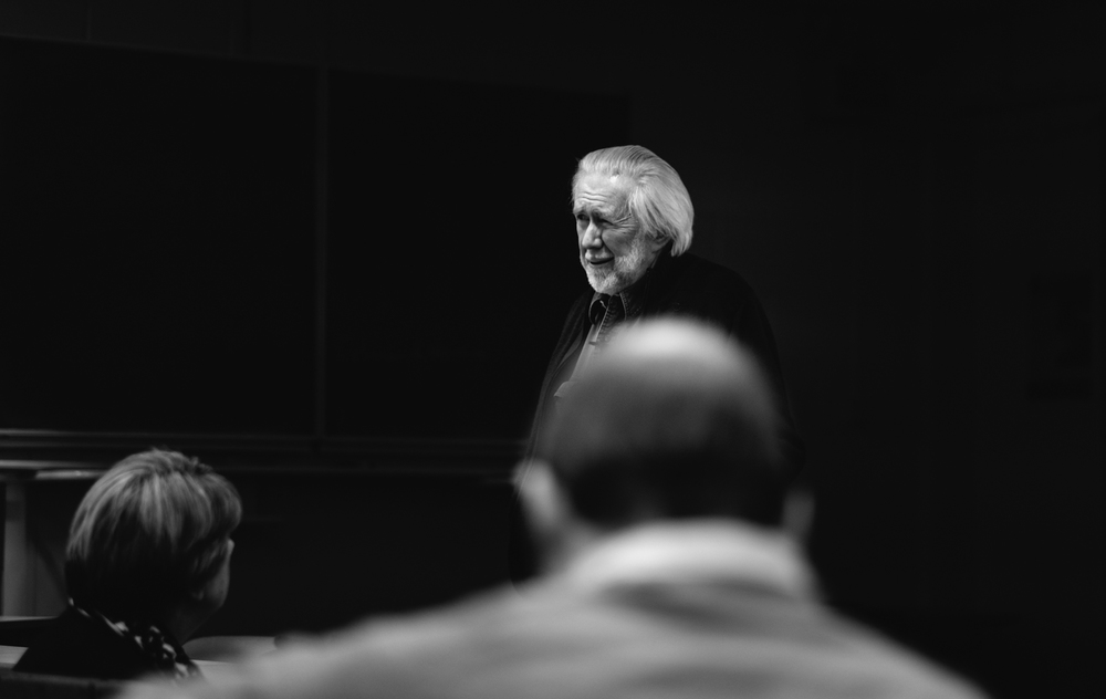 Magnum Photographer Ian Berry delivering the 2nd The Nick Lewis Memorial Trust in Cardiff. Image © Brian Carroll