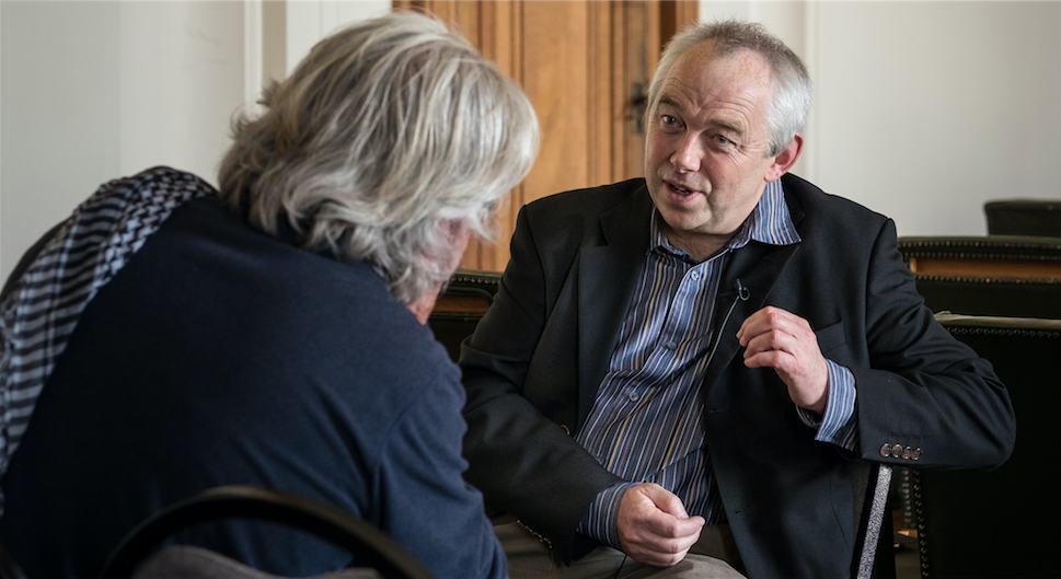 National Library of Wales Curator Will Troughton speaking with Ffoton's Emyr Young