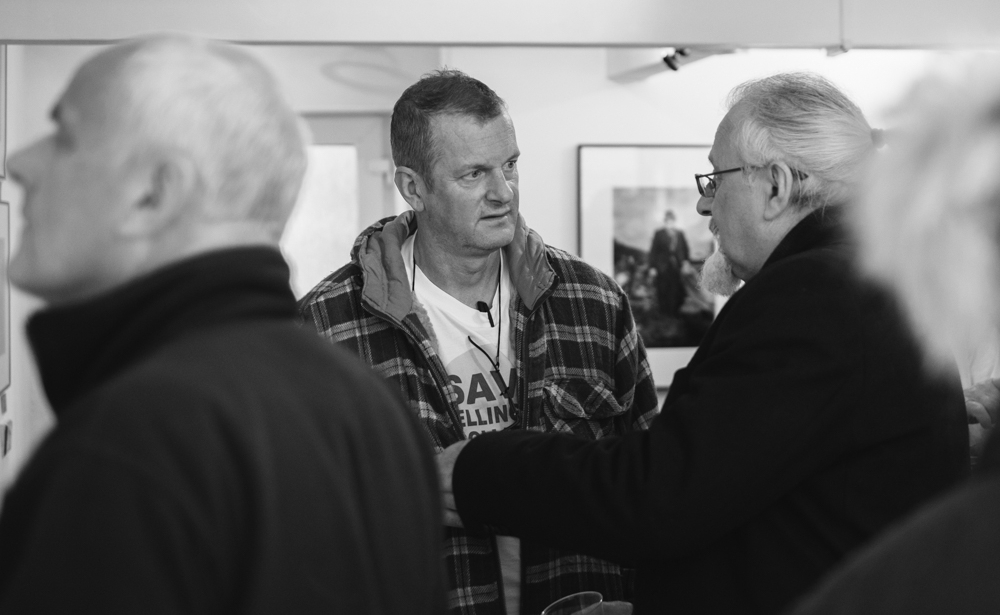 Photographer Roger Tiley in conversation with Ron McCormick who also had a recent exhibition at the Kickplate Gallery in Abertillery, South Wales.