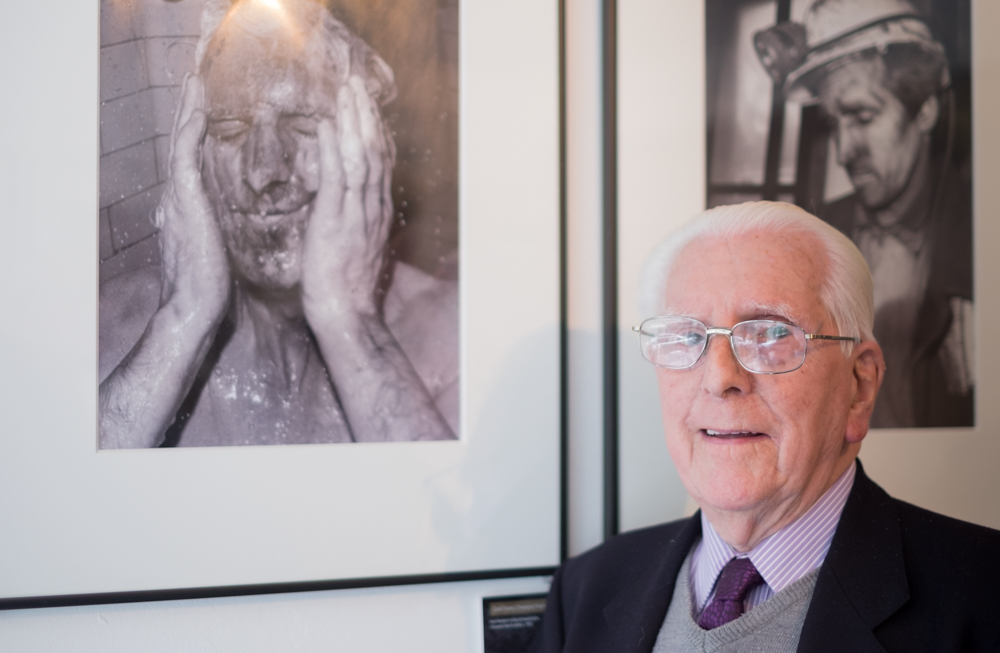 Ivor Russel Herbert, retired Miner alongside one of Roger's many photographs of him when he worked down the mines.
