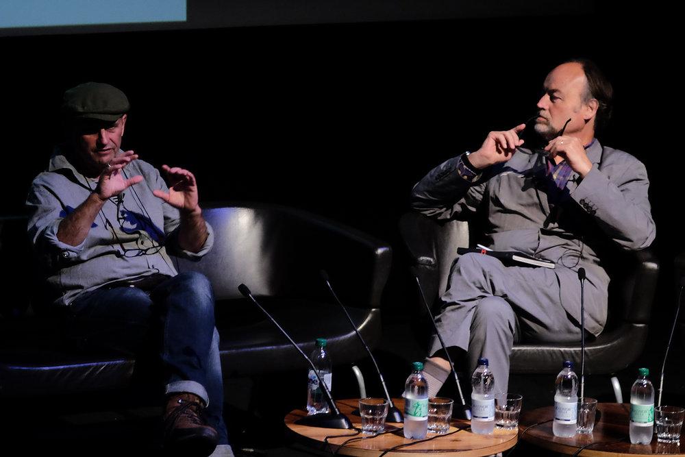 Rhodri Jones speaking with Eamonn McCabe at the EYE International Photography Festival 2016