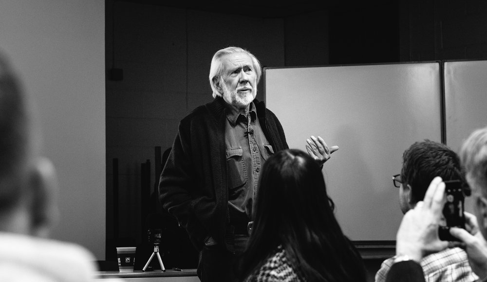Veteran photojournalist  Ian Berry of Magnum Photos who worked with Tom Hopkinson, giving the Nick Lewis Memorial Lecture in February 2016, hosted by Cardiff School of Journalism, Media and Cultural Studies. Image © Brian Carroll