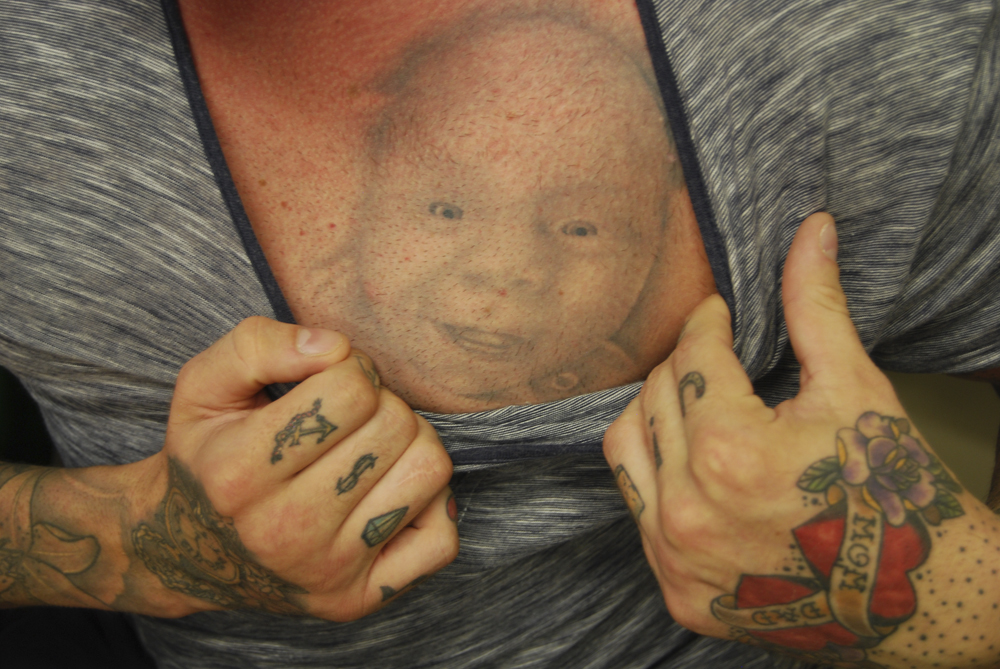 Tattooed man, the covered market, West Bromwich