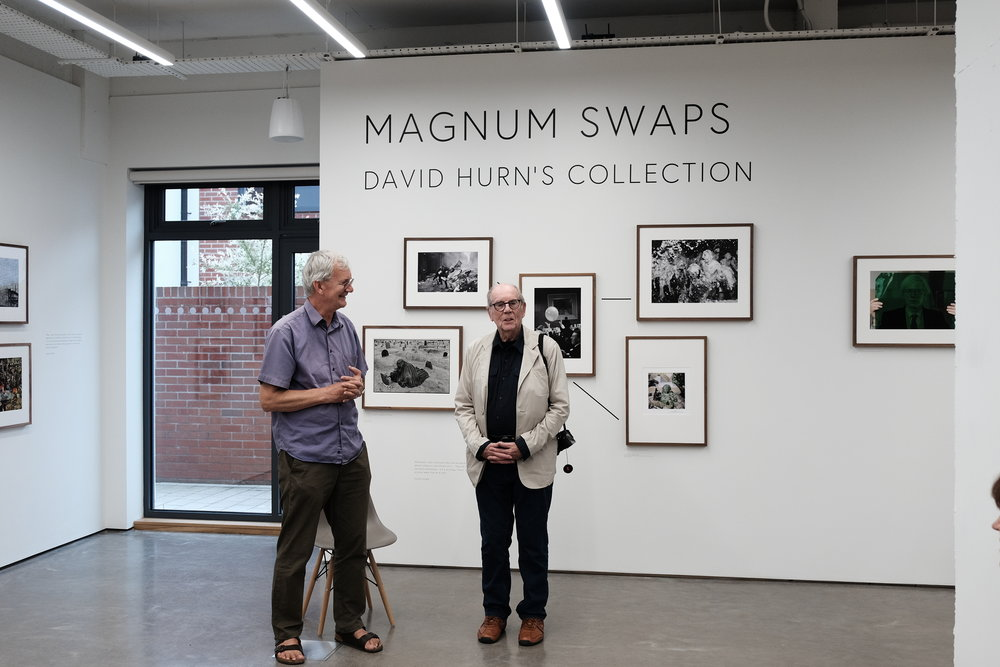 Long-time friends and fellow Magnum photographers Martin Parr and David Hurn.