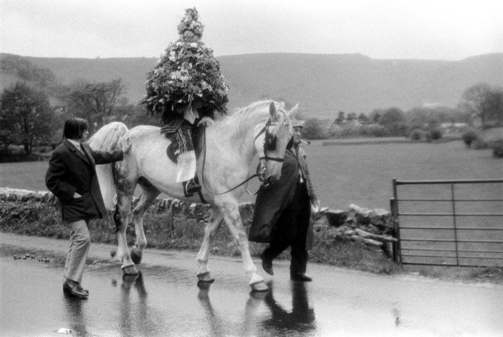 The King on horse back. Castleton Garland Day, Castleton Derbyshire England. May 29th 1972