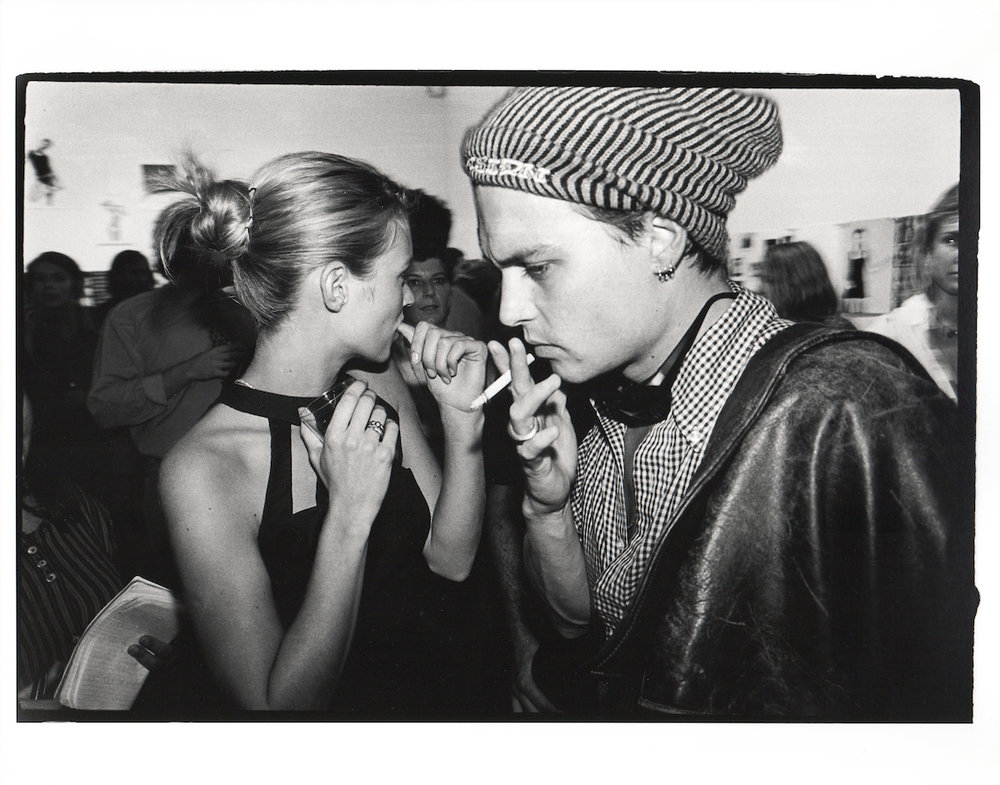 Kate Moss & Johnny Depp. Kate Moss book party. New York 1995.